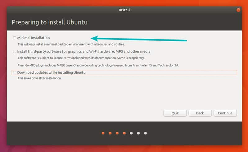 گزینه Minimum installation در Ubuntu 18.04